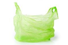 Isolerad grön plastpåse Royaltyfria Foton
