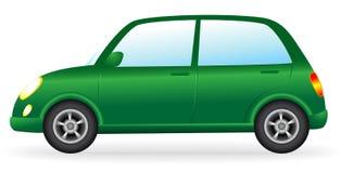 Isolerad grön retro bil på vit bakgrund Arkivfoto