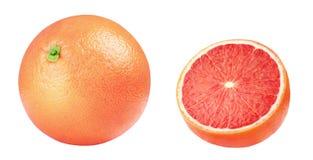 isolerad grapefrukt Rosa grapefrukter som isoleras på vit bakgrund, med den snabba banan Arkivfoton