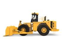 Isolerad gul bulldozer Arkivbilder
