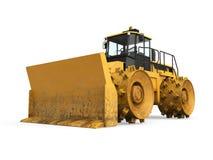 Isolerad gul bulldozer Arkivfoton
