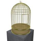 Isolerad guld- bur Arkivbild