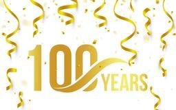 Isolerad guld- färg nummer 100 med ordårssymbolen på vit bakgrund med fallande guld- konfettier och band, 100.