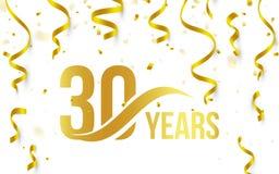 Isolerad guld- färg nummer 30 med ordårssymbolen på vit bakgrund med fallande guld- konfettier och band, 30th Arkivbilder