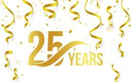 Isolerad guld- färg nummer 25 med ordårssymbolen på vit bakgrund med fallande guld- konfettier och band, 25th vektor illustrationer