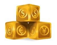 Isolerad guld- kubpyramid med för valutaUS dollar för värld det viktiga tecknet, euro, symbol för japansk yen vektor illustrationer