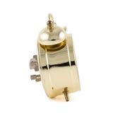 Isolerad guld- mekanisk ringklocka Royaltyfri Fotografi