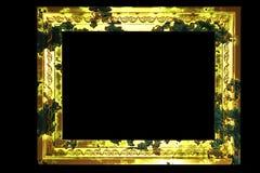 Isolerad guld- ram för Grunge Fotografering för Bildbyråer