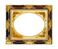 Isolerad guld- wood ram Arkivfoto