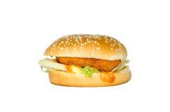 Isolerad hamburgare och vitbakgrund Arkivfoton