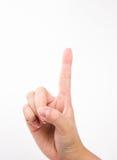 """Isolerad hand med nummer """"ett"""" Arkivbild"""