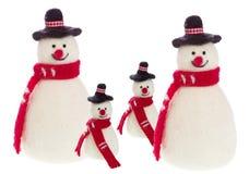 Isolerad handgjord snögubbe med filt med en röd halsduk Arkivfoton