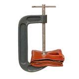 isolerad handväska som pressar white Arkivfoton