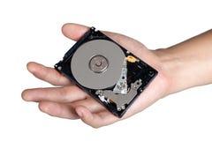 Isolerad harddisk för håll för handteckenställing Royaltyfri Foto