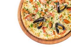 Isolerad havs- italiensk pizza Fotografering för Bildbyråer