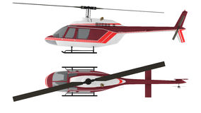 isolerad helikopter Bästa och främre sikt Fotografering för Bildbyråer