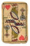 Isolerad historisk gammal använd konung av hjärtakortet Royaltyfri Bild