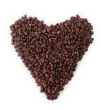 Isolerad hjärta av kaffebönor Royaltyfri Fotografi
