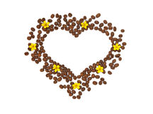 Isolerad hjärta av kornet med gula blommor Arkivfoto
