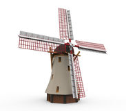 Isolerad holländsk väderkvarn Royaltyfri Fotografi