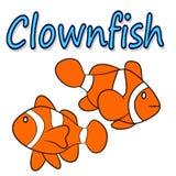 Isolerad illustration av en clownfish Arkivbilder