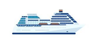 Isolerad illustration av kryssningskeppet, sidosikt av kryssningskeppet på vit bakgrund Royaltyfria Bilder