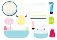 Isolerad illustration för badrum utrustning Arkivbild