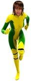 Isolerad illustration för Superherokvinna spring Royaltyfri Fotografi
