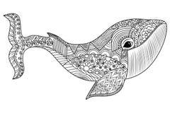 Isolerad illustration med höga detaljer i zentanglestil Arkivbild