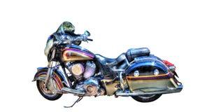 Isolerad indisk motorcykel på en vit bakgrund Arkivfoto