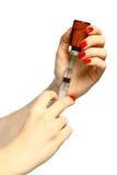 isolerad injektionssprutaliten medicinflaskawhite Arkivbilder