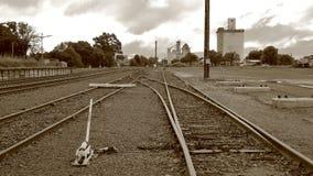 Isolerad järnväg siding för land Fotografering för Bildbyråer