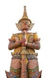 Isolerad jätte- förmyndare på Wat Pra Keaw Royaltyfri Fotografi