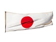Isolerad japansk flagga i vind Fotografering för Bildbyråer