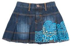 isolerad jeansminiskirt arkivbilder