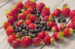 isolerad jordgubbewhite för bakgrund hjärta Arkivfoton