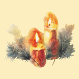 Isolerad julgranstearinljusfyrkant Arkivbilder