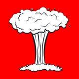 Isolerad kärn- explosion Kriga stor röd explosiv kemikalie mu stock illustrationer
