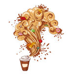 Isolerad kaffekopp med sötsaker Arkivfoton