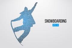 Isolerad kontur av en snowboarderbanhoppning också vektor för coreldrawillustration Arkivbilder