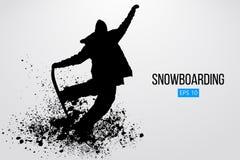 Isolerad kontur av en snowboarderbanhoppning också vektor för coreldrawillustration Royaltyfri Foto