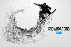 Isolerad kontur av en snowboarderbanhoppning också vektor för coreldrawillustration Royaltyfri Fotografi