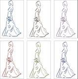 Isolerad kontur för elegant kvinna - vektor illustrationer