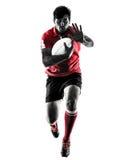 Isolerad kontur för rugbymanspelare Royaltyfri Bild