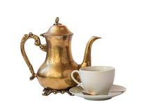Isolerad kopp kaffe- och kaffekruka Royaltyfria Foton