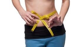 isolerad kvinna för white för vikt för förlustmåtttorso Royaltyfria Foton