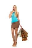 Isolerad kvinna i shoppingbegrepp Fotografering för Bildbyråer