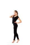 Isolerad kvinna som ha på sig sportswearen Fotografering för Bildbyråer