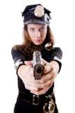 Isolerad kvinnlig polis Arkivfoton
