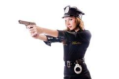Isolerad kvinnlig polis Royaltyfria Bilder